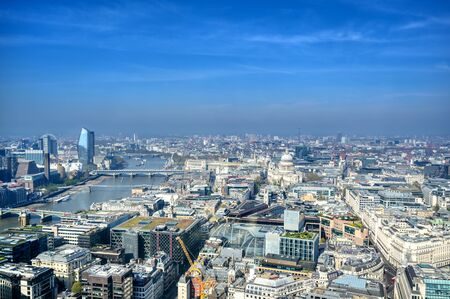 An aerial view of London, United Kingdom on a sunny day.