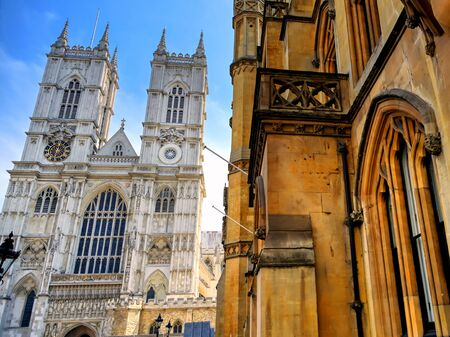 A view of Westminster Abbey on a sunny day in London, UK.