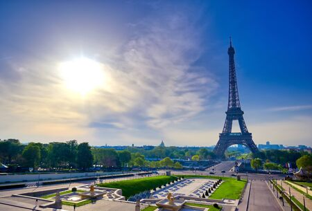 A view of the Eiffel Tower from the Jardins du Trocadero in Paris, France.