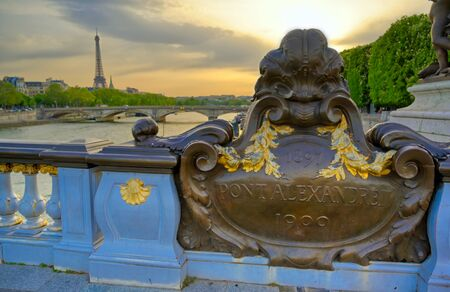 A view of the Pont Alexandre III bridge that spans the Seine River in Paris, France 스톡 콘텐츠