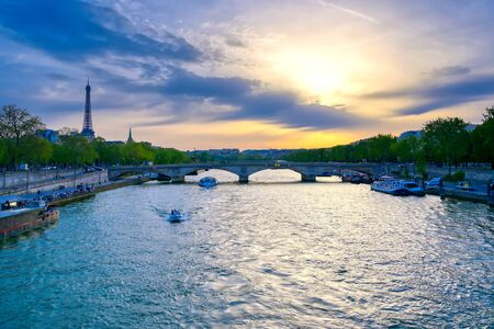 A view from the Pont Alexandre III bridge that spans the Seine River in Paris, France Archivio Fotografico - 129467282