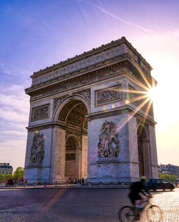 A view of the Arc de Triomphe located in Paris, France.