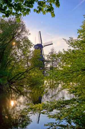 Historic windmills located in Kralingen Lake in Rotterdam, the Netherlands.