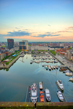 Aerial view of the Port of Antwerp in Antwerp, Belgium.