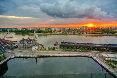 Aerial view of the Port of Antwerp in Antwerp, Belgium. 新聞圖片