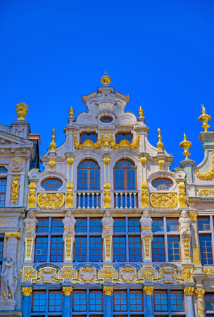 Buildings and architecture in the Grand Place, or Grote Markt, the central square of Brussels, Belgium. Banque d'images - 128466768