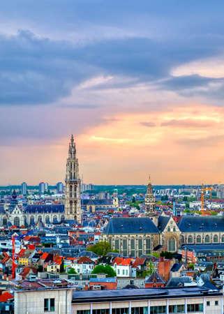An aerial view of Antwerp, Belgium at sunset.
