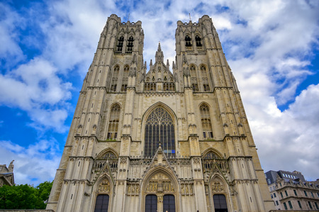 The Cathedral of St. Michael and St. Gudula is a Roman Catholic church in Brussels, Belgium. Banque d'images - 128466919