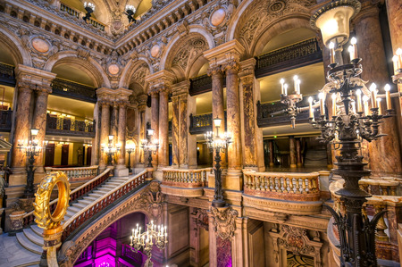 Paris, France - April 23, 2019 - The Grand Staircase at the entry to the Palais Garnier located in Paris, France.