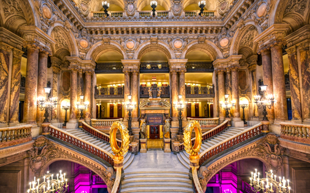 Paris, France - April 23, 2019 - The Grand Staircase at the entry to the Palais Garnier located in Paris, France. Editorial