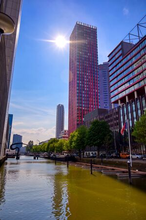 The canals and waterways in the city of Rotterdam, the Netherlands.