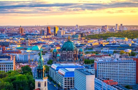 An aerial view of the Berlin Cathedral at sunset.
