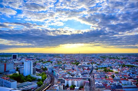 The sunset over the city of Berlin, Germany.