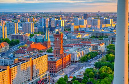 An aerial view of the Berlin, Germany at sunset.
