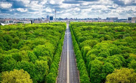 An aerial view of the Tiergarten and Berlin, Germany from the Victory Column on a sunny day.