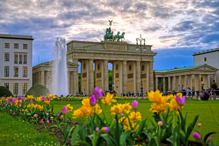Berlin, Germany - May 3, 2019 - The Brandenburg Gate at sunset located in Pariser Platz in the city of Berlin, Germany. Editoriali