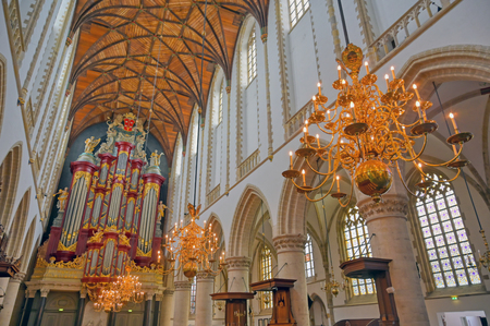 Haarlem, Netherlands - April 30, 2019 - The interior of the St. Bavo Church in the Dutch city of Haarlem, the Netherlands.