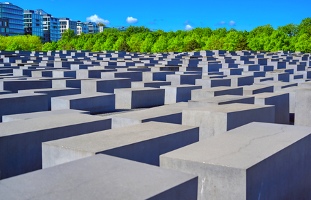 Berlin, Germany - May 5, 2019 - The Memorial to the Murdered Jews of Europe, also known as the Holocaust Memorial, is a memorial in Berlin to the Jewish victims of the Holocaust located in Berlin, Germany. Editorial