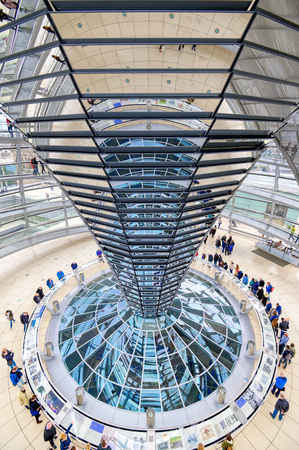 Berlin, Germany - May 4, 2019 - The interior of the glass dome on top of the rebuilt Reichstag building in Berlin, Germany.