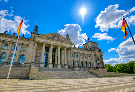 The Reichstag building located in Berlin, Germany which houses the German parliament, the Bundestag.