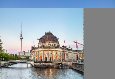 Berlin, Germany - May 4, 2019 - The Bode Museum located on Museum Island in the Mitte borough of Berlin, Germany at dusk.