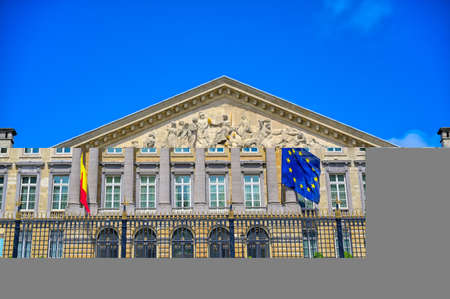 Brussels, Belgium - April 27, 2019 - The Palace of the Nation, which houses the Belgian Chamber of Representatives and the Senate in Brussels, Belgium. Redactioneel