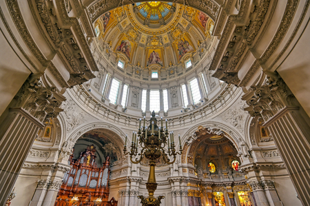 Berlin, Germany - May 4, 2019 - The interior of Berlin Cathedral located on Museum Island in the Mitte borough of Berlin, Germany.