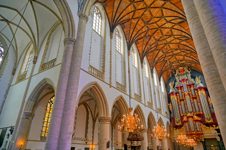 Haarlem, Netherlands - April 30, 2019 - The interior of the St. Bavo Church in the Dutch city of Haarlem, the Netherlands. Banque d'images - 129491725