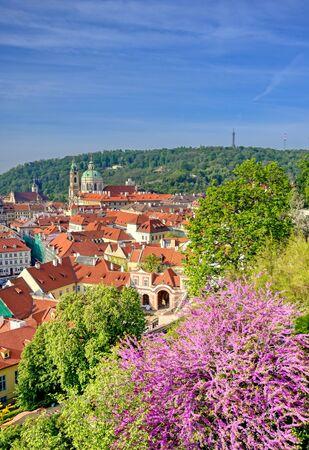 The rooftops along the Vltava River in Prague, Czech Republic. Stock fotó