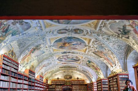 Prague, Czech Republic - May 9, 2019 - The library at the Strahov Monastery located in Strahov, Prague, Czech Republic.