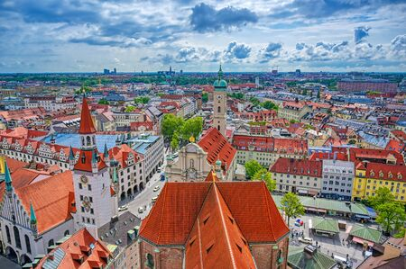 An aerial view of Munich, Bavaria, Germany on a cloudy day. Banco de Imagens