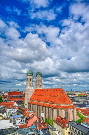 The Frauenkirche, or Cathedral of Our Dear Lady) located in Munich, Bavaria, Germany. Banco de Imagens