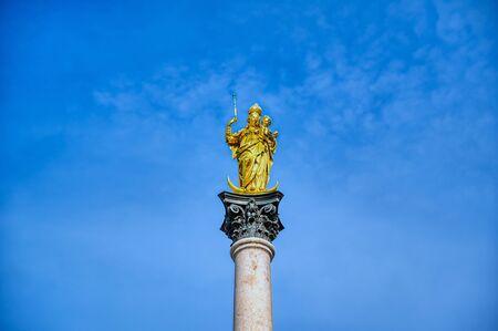 The Marian Column on Marienplatz in Munich, Bavaria, Germany.