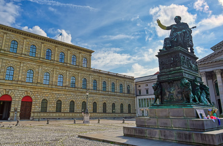 Munich, Germany - May 13, 2019 - The Residenz in central Munich, Bavaria, Germany is the former royal palace of the  Wittelsbach monarchs and is now a museum. Редакционное
