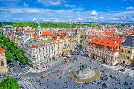 Prague, Czech Republic - May 10, 2019 - Aerial view of Old Town Square of Prague, Czech Republic on a sunny day. Редакционное