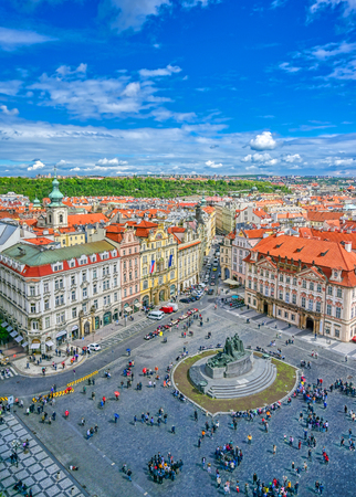 Prague, Czech Republic - May 10, 2019 - Aerial view of Old Town Square of Prague, Czech Republic on a sunny day. Editorial
