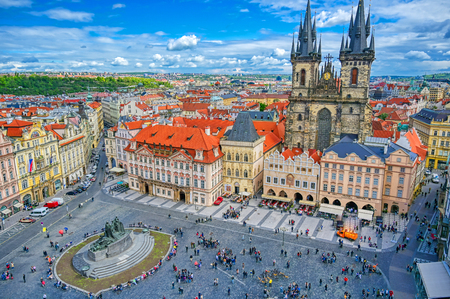 Prague, Czech Republic - May 10, 2019 - The Church of Our Lady before Tyn in Old Town Square of Prague, Czech Republic. Редакционное