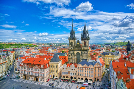 Prague, Czech Republic - May 10, 2019 - The Church of Our Lady before Tyn in Old Town Square of Prague, Czech Republic. Editorial