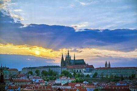 A view of Prague Castle across the Vltava River in Prague, Czech Republic.