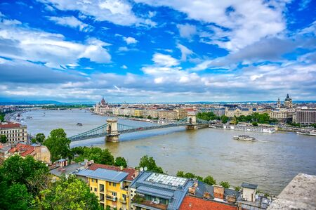 A view of Budapest, Hungary along the Danube River from Fisherman's Bastion.