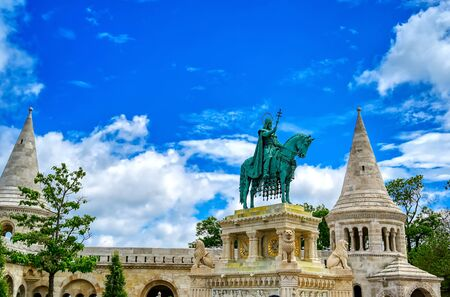 Fisherman's Bastion, located in the Buda Castle complex, in Budapest, Hungary.