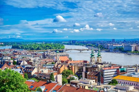 A view of Budapest, Hungary along the Danube River from Fisherman's Bastion. Reklamní fotografie