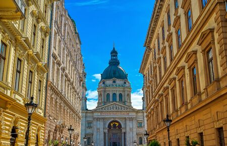 St. Stephens Basilica located on the Pest side of Budapest, Hungary.