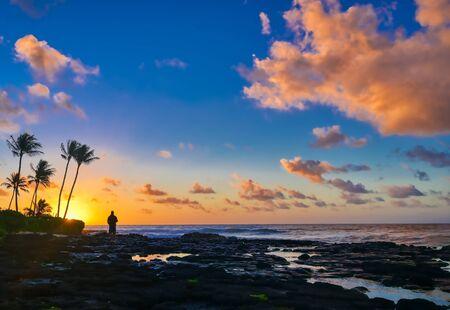 Sunrise over the coast of Kauai, Hawaii, 스톡 콘텐츠