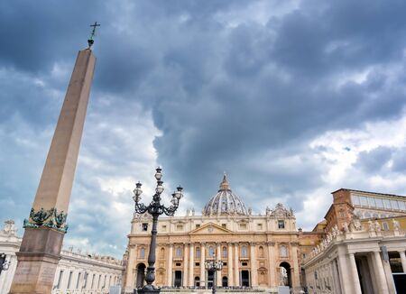 Vatican City - May 30, 2019 - St. Peters Basilica and St. Peters Square located in Vatican City near Rome, Italy.