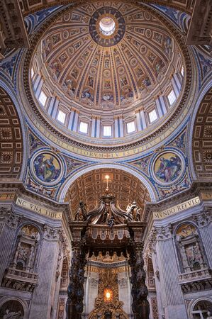 Vatican City - May 31, 2019 - The interior of St. Peters Basilica in St. Peters Square in Vatican City.