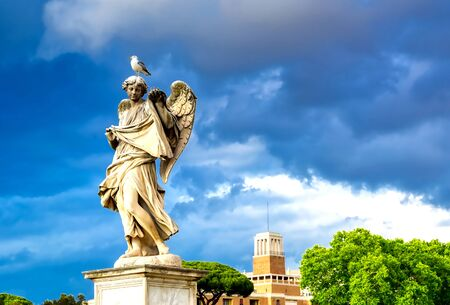 Statues on St. Angelo Bridge in Rome, Italy.
