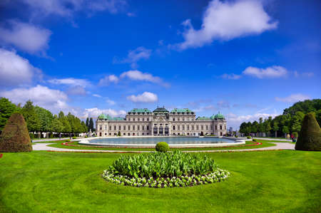 Vienna, Austria - May 17, 2019 : Baroque palace Belvedere is a historic building complex in Vienna, Austria, consisting of two Baroque palaces with a beautiful garden between them. Publikacyjne
