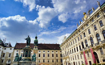 Vienna, Austria - May 19, 2019 - The statue of Emperor Franz I, designed by Pompeo Marchesi in 1846, located in the Hofburg Palace in Vienna, Austria.