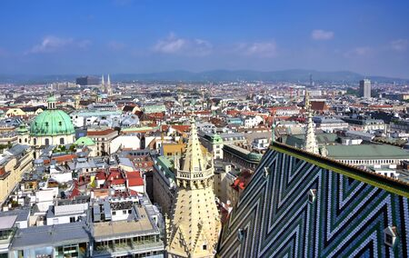 An aerial view of Vienna, Austria from St. Stephen's Cathedral.